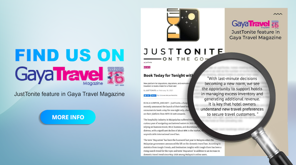 Book today for tonight with JustTonite - Gaya Travel